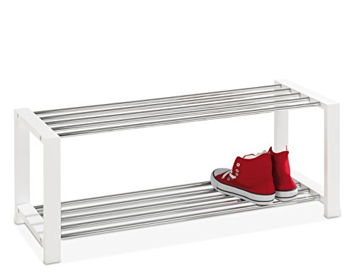 Schuhbank, Schuhregal ULFI 1, weiß lackiert, 80x32x30 cm