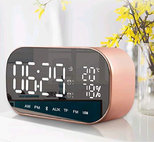 Queta Digitale wekker met bluetooth-luidspreker, verlichte wekker met LED-display en wekker voor thuis (roségoud)