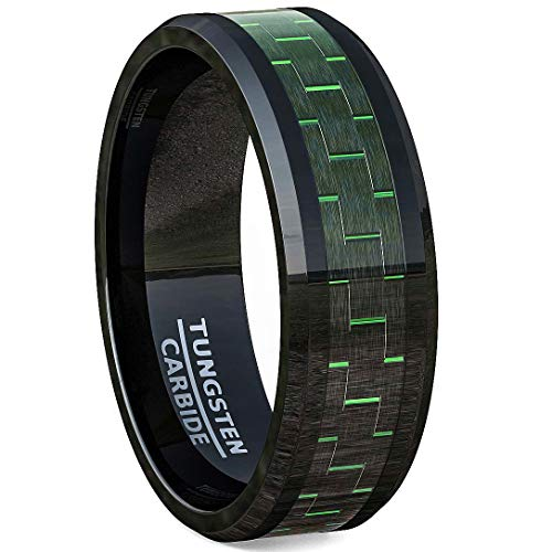 Black Tungsten Ring Green Carbon Fiber Polished Beveled Edge Comfort Fit (7) ()