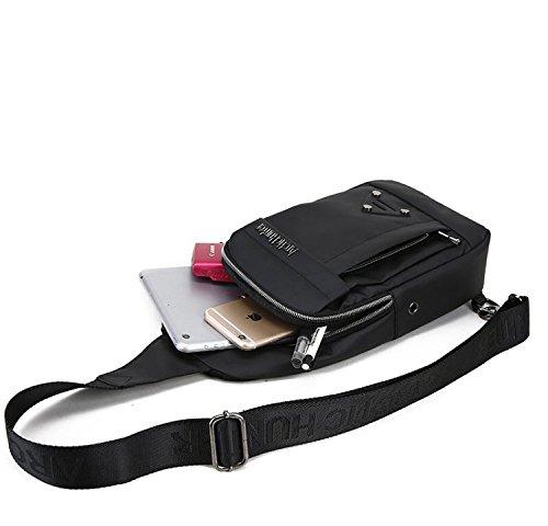 DoubleVillages -Mochila de Hombro Bolsas de Hombro / Bolso Pecho / Bolso bandolera Bolsa Pecho / Bolso Deportivo/ Bolsa Sling CrossBody Messenger Bag -impermeable (Negro 02) Negro 02