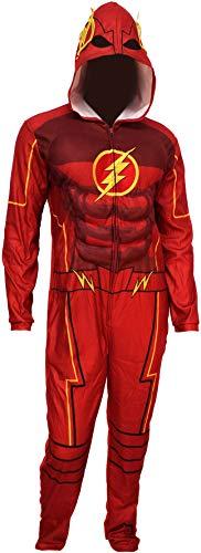 DC Comics Men's Justice League Flash Costume One Piece Union Suit Pajama (Small) -