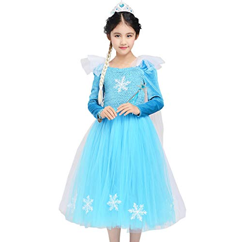 Elsa Princess Dresses Girls Blue Queen Frozen Tutu Costumes Halloween Birthday Pageant Party with Tiara Wand Set -