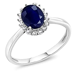 White Gold Blue Sapphire and Diamonds Engagement Ring