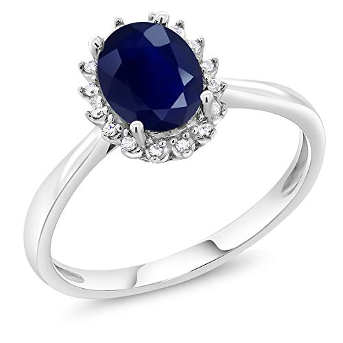 (Gem Stone King 10K White Gold Blue Sapphire and Diamonds Gemstone Birthstone Women's Engagement Ring 1.79 Ctw Oval (Size 6) )