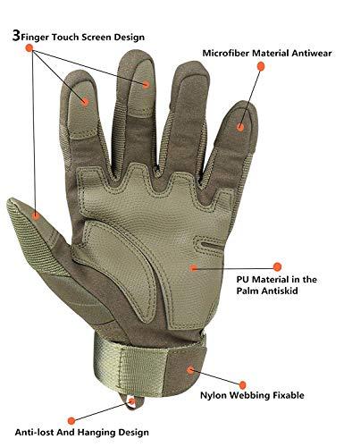 Avril Tian Gants, tactique militaire Armée en caoutchouc rigide Knuckle extérieur Full Finger Gants pour écran tactile… 3
