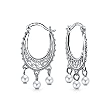 Bling Jewelry Freshwater Cultured Pearl Sterling Silver Dangle Hoop Earrings