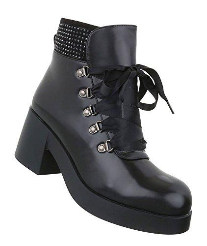 Damen Stiefeletten Leder-Optik | Strass Boots | Kurzschaft Stiefelette | Knöchelhohe Stiefel | Plateau Stiefelette | Absatz Stiefelette | Schuhcity24 Schwarz 1