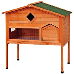 Pawhut Wooden Bunny Rabbit Hutch w/ Loft
