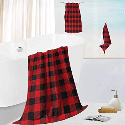 Leigh R. Avans Plaid,Collection Premium Towel Set Lumberjack Fashion Buffalo Style Checks -
