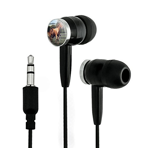 Ears Foal - Graphics and More Mother Horse and Foal Baby Fresh Start Novelty In-Ear Earbud Headphones - Black