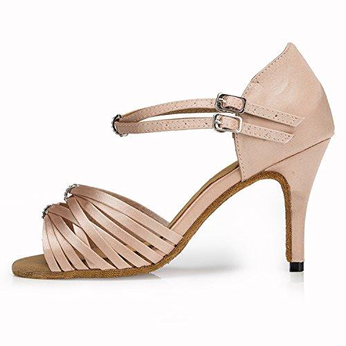 Miyoopark , Damen Tanzschuhe , beige - Nude-8.5cm Heel - Größe: 38