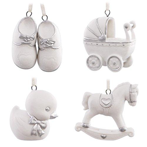 Hallmark Keepsake 2017 Welcome Baby Mini Porcelain Christmas Ornaments, Set of 4