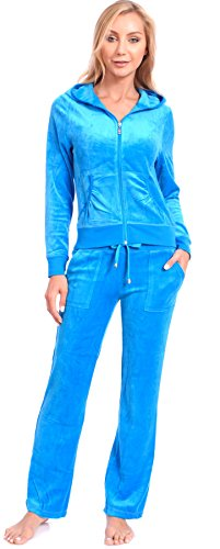 (Women's Regular Athletic Velour Zip Up Hoodie and Sweat Pants Set Order 2 Sizes Up Turquoise X-Large)