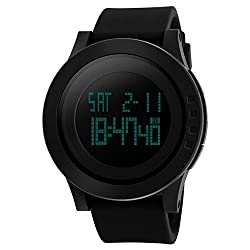 Digital Watch For Men - CARFUL Sports Wristwatch With Time Date Backlight Display And Silicone Adjustable Band, Waterproof And Scratch Resistant, Alarm And Dual Time Mode, Stylish Design Men Watches