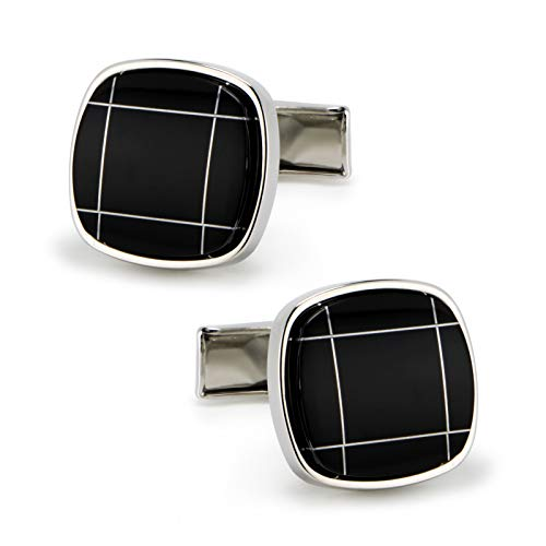 - VIILOCK Square Curved Black Agate Silver Tone Formal Pair Cufflinks in Presentation Gift Bag