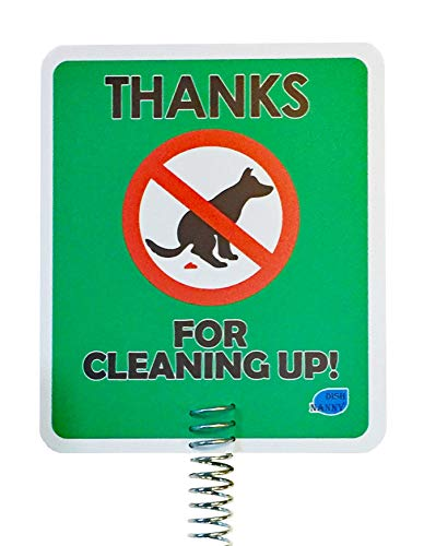 New & Improved - Dog Poop Sign Disposal | Thanks for Cleaning Up Signs Made with Metal Stake Dog Poop Signs for Yard, Stop Pets Pooping or Peeing The Lawn Yard (Thanks for Cleaning Up) ()