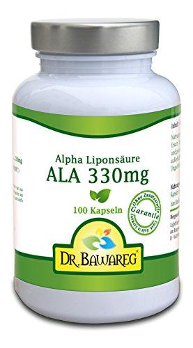 ALA - Alpha Liponsäure 330mg 100 Veggie Kapseln, ohne Zusatzstoffe - Dr. Bawareg