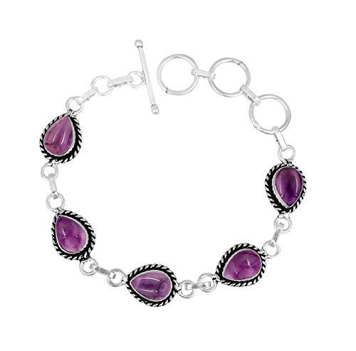 (Genuine Oval Shape Amethyst Link Bracelet 925 Silver Plated Handmade Vintage Bohemian Style Jewelry for Women)