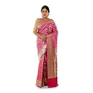 Debasree's Women Pink Katan Banarasi Saree