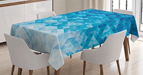 (Ambesonne Geometric Decor Tablecloth, Geometric Gradient Digital Texture with Mosaic Triangle Pattern Pixel Graphic Print, Rectangular Table Cover for Dining Room Kitchen, 60x84 inch, Light Blue)
