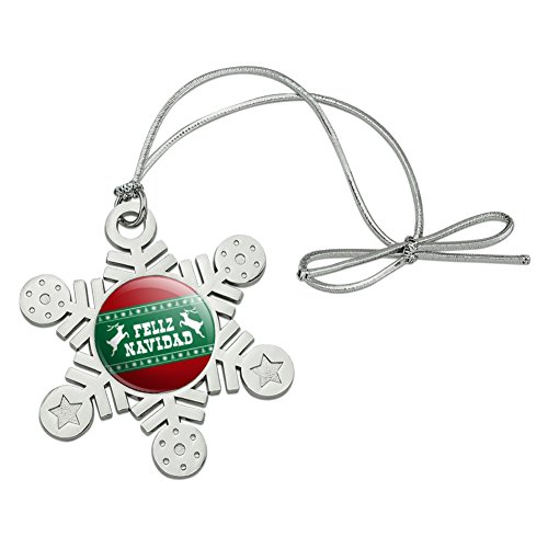 Graphics and More Feliz Navidad with Deer Merry Christmas Metal Snowflake Christmas Tree Holiday Ornament - Feliz Navidad Ornament