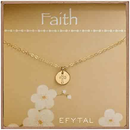74d7e3925982cf EFYTAL Tiny Gold Filled Faith Cross Necklace, Small Simple Dainty Disc  Pendant, First Communion
