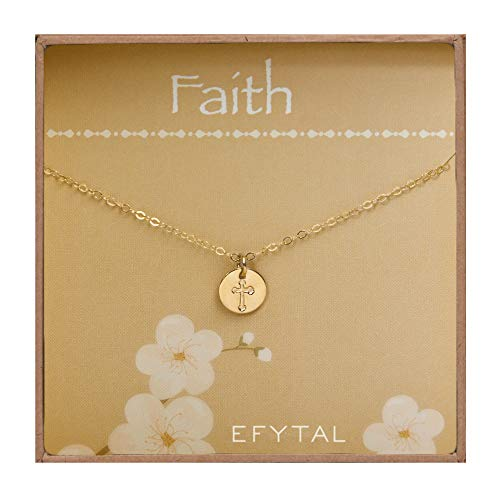 EFYTAL Tiny Gold Filled Faith Cross Necklace, Small Simple Dainty Disc Pendant, First Communion Gift for Girls and Women]()