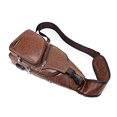 K&A Company Men's Anti Theft Crossbody Bag USB PU Charging Shoulder Bag Camping Chest Waist Pack, L|Light Brown