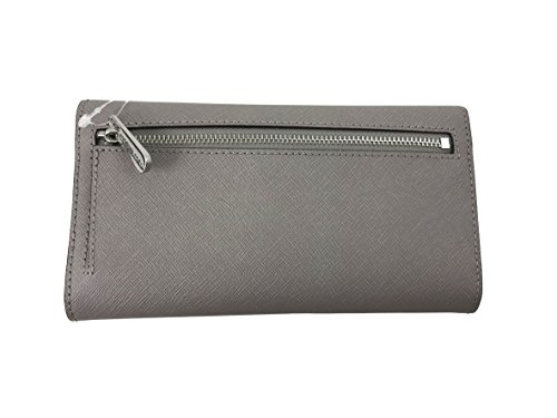 74e7187f36557d Michael Kors Jet Set Travel Large Trifold Leather Wallet (Pearl Grey) by Michael  Kors