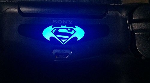 258stickers® PS4 Light Bar Decal Stickers - Playstation 4 Superman of Steel in Bat Wing Stickers 1 Pcs (Ps3 Superman Controller Skin)