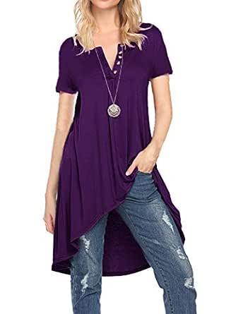 Naggoo Women's Half Sleeve High Low Loose Fit Casual Tunic Tops Tee Shirt Dress - - Small