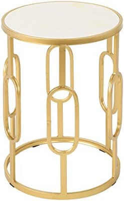 Christopher Knight Home Madison Indoor Glam 16 Inch Finish Side Table, White Faux Stone Gold Metal