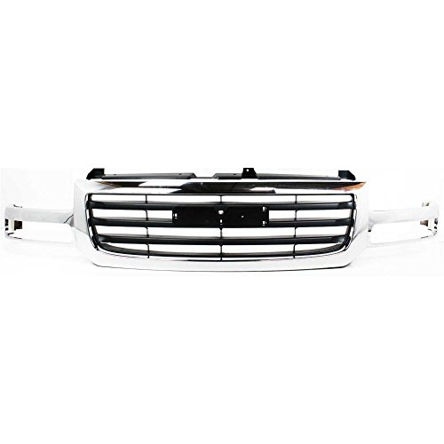 Grille compatible with GMC Sierra 1500/2500 03-06 Chrome Shell/Painted-Black Insert 2007 Classic