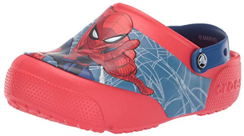 Crocs Kids' Fun Lab Spiderman Light-Up Clog, Flame, 6 M US Toddler -