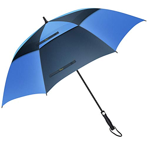 Heasy Golf Umbrella Windproof Large 68 Inch Automatic Open Double Canopy Vented Extra Large Stick Umbrellas for Men and Women (Navy and Royal Blue)