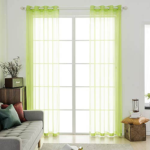 MIULEE 2 Panels Solid Color Green Sheer Curtains Elegant Grommet Top Window Voile Panels/Drapes/Treatment for Bedroom Living Room (54X90 -