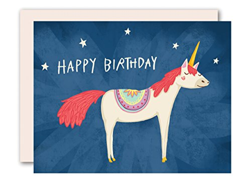Unicorn Birthday Card - Unisex: For Women, Men and Children - Blank Inside - Box of 8 - Size A2 Matching Envelopes