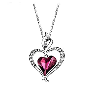 Heart Pendant Necklace – Swarovski Crystal Heart Shaped Pendant for Women – Stocking Stuffer for Girls