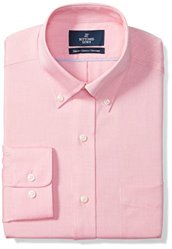 (BUTTONED DOWN Men's Classic Fit Button-Collar Solid Non-Iron Dress Shirt (Pocket), Pink, 15.5