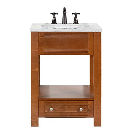 Cheap MAYKKE Oxford 25″ Transitional Bathroom Vanity Set in Cinnamon, Marble Vanity Top Carrara White, Ceramic Undermount Sink with 8″ Widespread Faucet Holes in White, LBA5024001