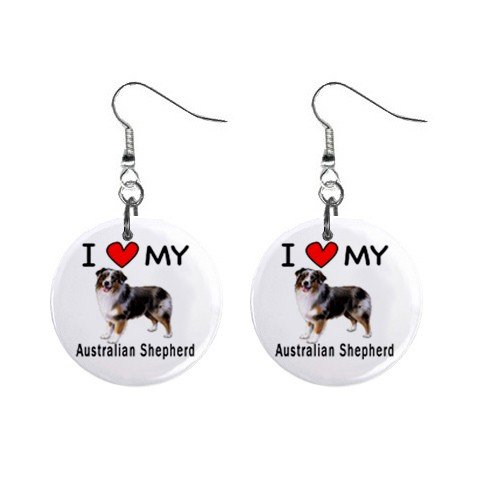 - I Love My Australian Shepherd Dog Button Earrings