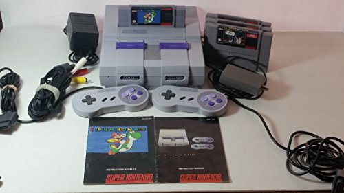 Complete Set (SNES Super NES Nintendo) Console, 2 Controllers, All Original Components, and Manuals + 4 Games