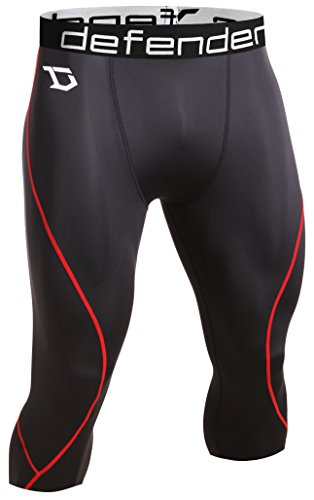 Defender Men's Compression Baselayer Capri Shorts Skin Sports Running - Mens Shorts Skins