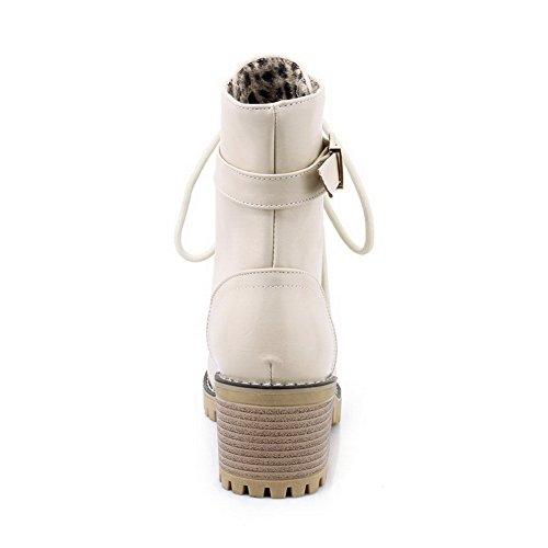 ABL10222 Urethane Resistant Retro Beige BalaMasa Buckle Womens Slip Boots qH77A4