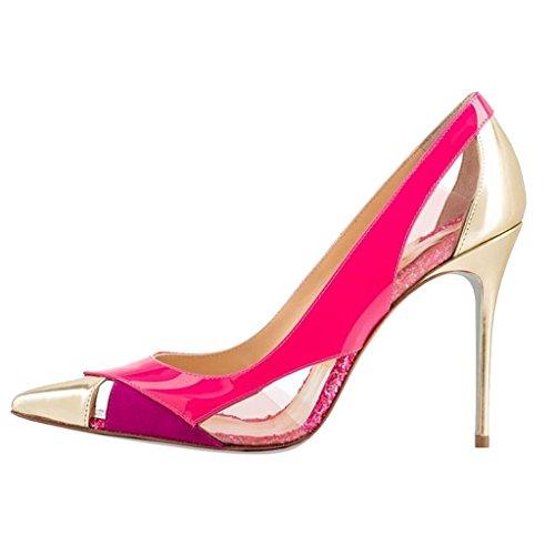 EKS Damen Spitz Multicolor Kleid-Partei Pink