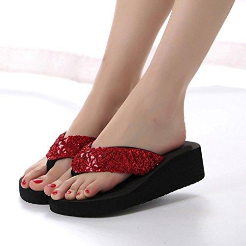 Digood Pantoufles Pour Les Femmes, Les Filles Des Adolescentes Sequin Décoration Plate-forme Orteils Chunky Tongs Chaussures Rouge
