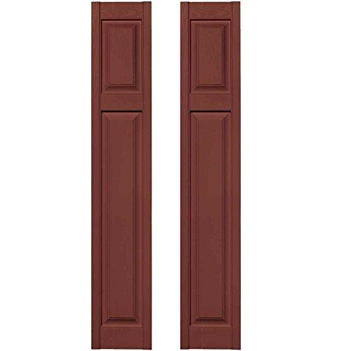 - Builders Edge 12 in. x 67 in. Cottage Style Raised Panel Vinyl Exterior Shutters Pair in #027 Burgundy Red