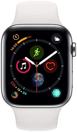 Apple Watch Series 4 (GPS + Cellular, 44MM) - Stainless Steel Case with White Sport Band (Renewed)