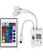 Harusi Smart WiFi RGB/GBR 2-in-1 LED Controller, Compatible with Alexa/Google Assistant, for 5050/3528 LED Strip Light, Have 24 Key Remote Control,Support Android iOS System