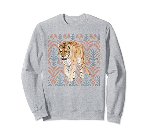 Unisex Tiger Sweatshirt With Tribal Pattern Artwork Small Heather Grey (Classic Sweatshirt Tiger)